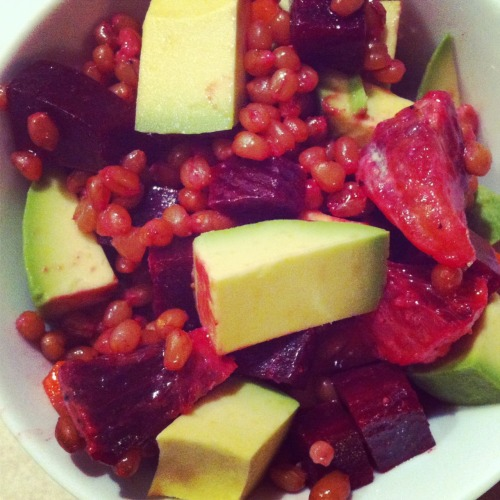 Wheat Berry Salad: Wheat berries - soak for 8 hours, cook for 2! Avocado Beets Carrot Blood orange Craisins  Olive oil Dijon mustard Sea salt Black pepper  This takes awhile to prepare, but it's easy, and worth it!  Filling, healthy and perty!   -Courtney