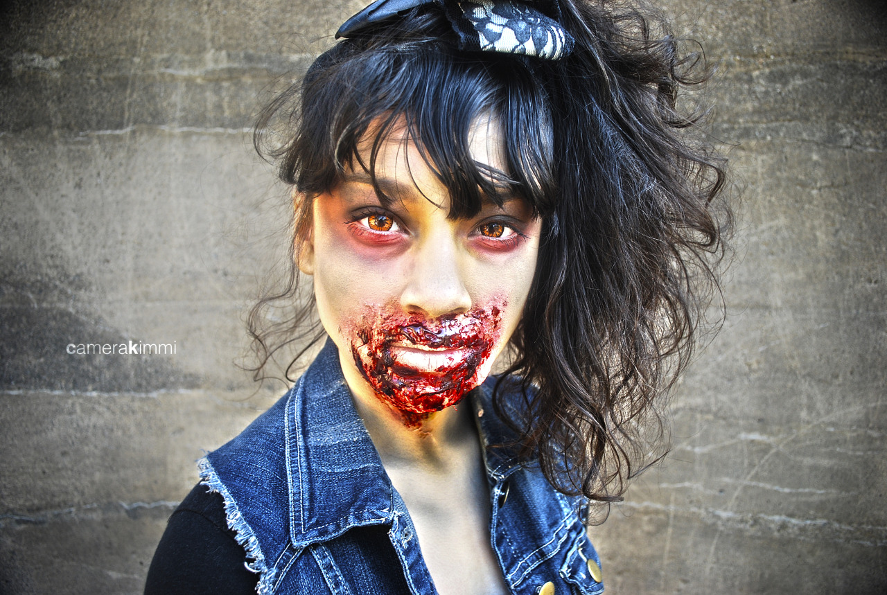 My little sister modeling all zombiefied. She was a trooper.