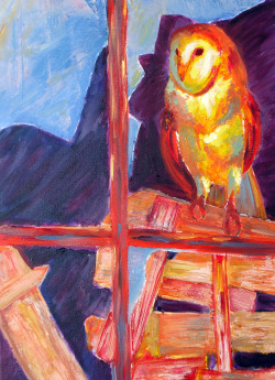 Oil paint on canvas, class assignment. Reference: Barn owl framed by broken window by Greg Morgan. End of the year dump, part three.