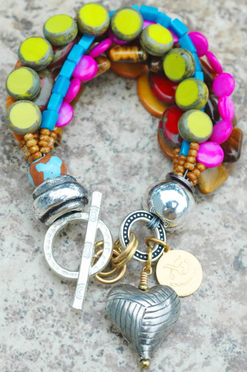 Passion Heart Charm Bracelet: Artisan Passion-Filled Colorful Silver Heart Charm Bracelet Click to Buy