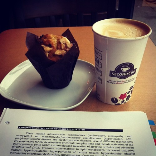 Coffee shop study sesh. Getting diabetes while I study about diabetes, haha.  (at Second Cup)