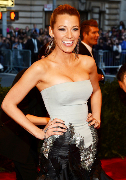 Blake Lively in Gucci Best Dressed. Costume Institute Gala for the 'PUNK: Chaos to Couture' exhibition at the Metropolitan Museum of Art 2013. May 7th, 2013 8:52  P.M. GMT.