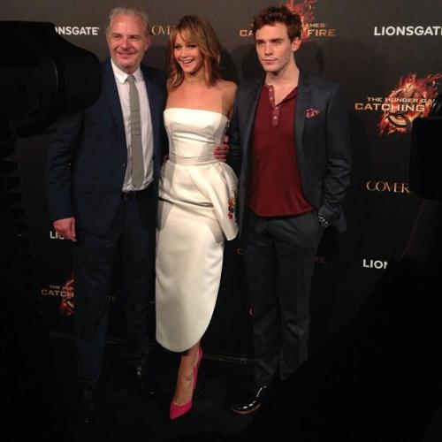 Francis Lawrence, Jennifer Lawrence and Sam Claflin at the Catching Fire party in Cannes