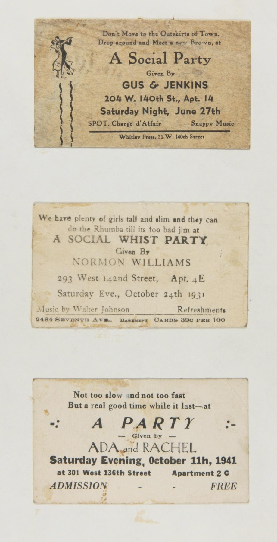 "npr:   These cards, collected by Langston Hughes and held with his papers in Yale's Beinecke Rare Book and Manuscript Library, advertised ""rent parties"" to be held in Harlem in the 1940s and 1950s.   Hosts of these gatherings opened up their apartments for a night, charging a fee to guests in return for live music, dancing, and socializing. Food was extra, and the accumulated cash went to help the hosts pay their rent. Sandra L. West points out that black tenants in Harlem during the 1920s and 1930s faced discriminatory rental rates. That, along with the generally lower salaries for black workers, created a situation in which many people were short of rent money. These parties were originally meant to bridge that gap.  Langston Hughes' collection of rent party cards : Slate.com  Photo: Courtesy the Beinecke Rare Book & Manuscript Library, Yale University. These sound like a good time and remind me of the rent party on ""Good Times."" — tanya b."