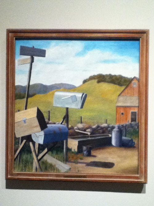 Paul Benjamin, Cross Road — Still Life (1934) From the Chazen's New Deal for Artists exhibit, exploring the works funded by FDR's 1934 stimulus.