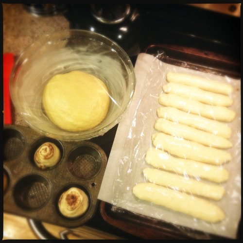 Lots of dough on the rise today. Hot dog buns, brioche, and a few cinnamon buns from the leftover bun dough.