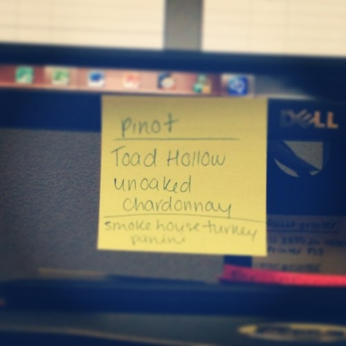 No idea why I've kept this stuck on my monitor… #wine #work #mystery #motivation