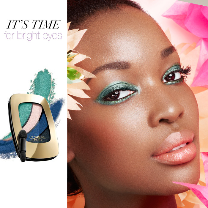 It's Time for Bright Eyes The smokey eye gets an eye-catching update in spring color. Let your eyes do the talking by pairing it with a hint of blush and a neutral lip. own it now: eye shadow. mascara. lipstick.