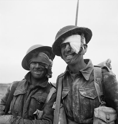 """Two wounded soldiers from the Durham Light Infantry during the Mareth line battle in Tunisia, March 1943."" courtesy of [[x]]"