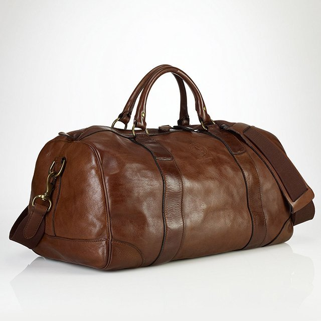 An overly fancy gym bag by Ralph Lauren.