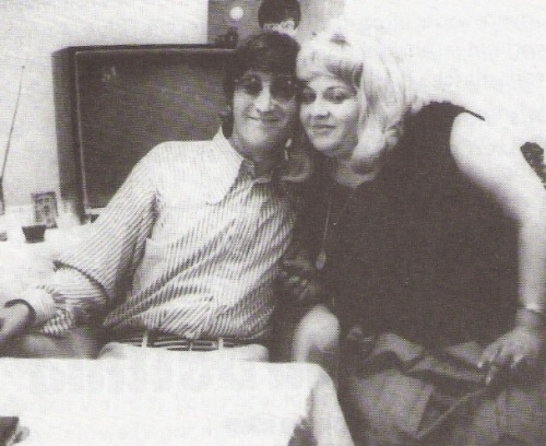 "Scan - John Lennon and Bettina ""Betty"" Derlien, bar lady on the Reeperbahn, pictured here during the Hamburg stop of the Bravo Beatles Blitztournee, 26 June 1966 Betty immediately liked The Beatles' humor and show - and John. She kept in touch with him through letters (and he'd send her his quirky drawings, too) and in fact also went to the movie theater with him during the band's Hamburg stays… As she recalled, they went on one occasion to see ""Dracula,"" and she didn't want to see the scary bits - so she asked John to tell her when they were over and it was safe to look again. It's probably hardly surprising that John told her to look right when the worst bits were on the screen. ;)  aw <3"