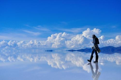 Walking on the Salar de Uyuni Salt Flats in Bolivia.