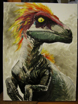 fuckyeahdinoart:  Feathered Velociraptor by *TheFranology
