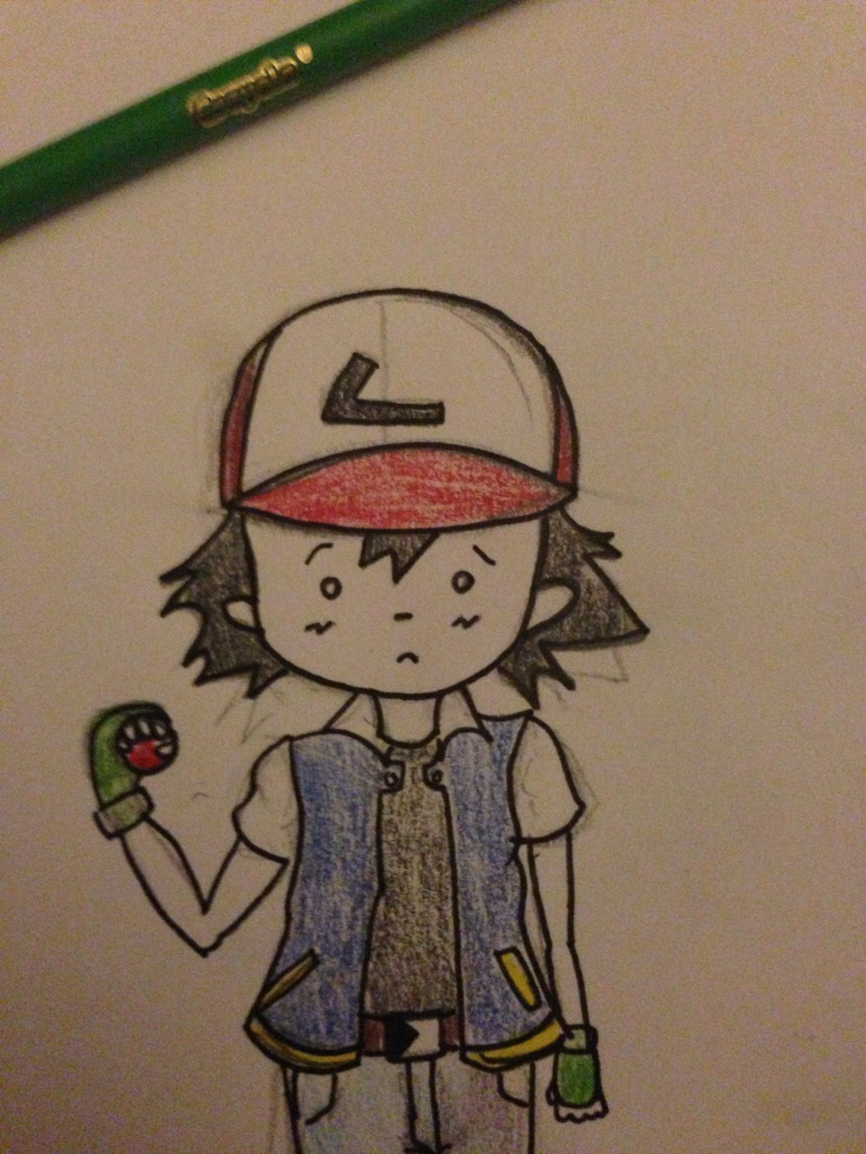 Bored drawing Ash Ketchum