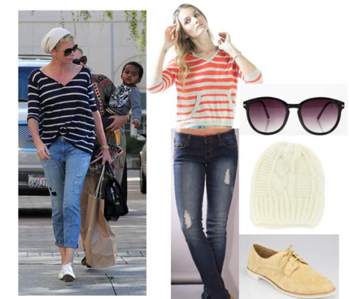 User Submission from Red Light PR.  Charlize Theron - Get The Look!  Top: Left on Houston www.leftonhouston.com; Jeans: AMIClubwear www.amiclubwear.com; Sunglasses: Shop Sosie www.shopsosie.com; Hat: Shop Lately www.shoplately.com; Shoes: Shop Sosiewww.shopsosie.com |