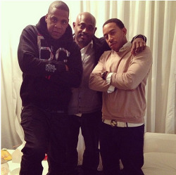 Jay-Z, his business partner Steve Stoute, and Ludacris backstage at Beyonce's Mrs. Carter show in London.
