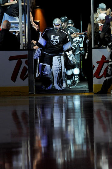 The Kings came out onto the ice  They stood for the anthem  They scored a few  They gave goalie love
