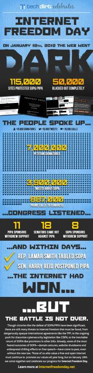 "HighRes Image Infographic: Celebrating Internet Freedom Day & The Anniversary Of The SOPA/PIPA Protests ""It's January 18th, 2013, and that's a day worthy of note: the one year anniversary of the widespread protests against SOPA and PIPA. Not only did the massive reaction from the internet community succeed in stopping these dangerous bills that would have curtailed free speech and innovation online, the protests sent shockwaves through the world of politics. In a true manifestation of democracy, the combined voice of the people overruled the lobbyists and backroom dealers who, only weeks before, were smugly assured of the new law's passage. To celebrate that victory, a bunch of groups involved in the ongoing fight for internet freedom have come together to declare Internet Freedom Day on January 18th. Here at Techdirt, we're marking the occasion with an infographic looking back at the day the internet community became a political force to be reckoned with…""~TechDirt"