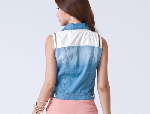 fashion-gallery:  Splicing Blocking Color Bleached Washing Denim Coat