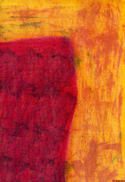 """Red-Black Shape on Yellow-Rust Background"" (Fragment) — Stephen C. Bird, 2013"