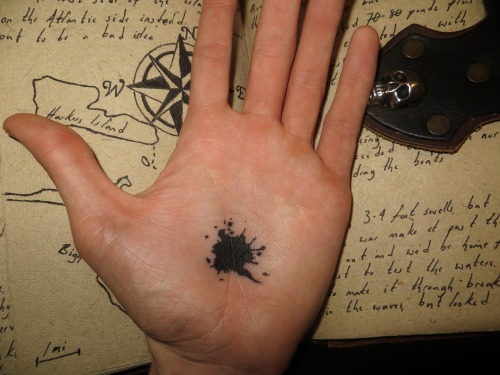 fuckyeahtattoos:  My palm tattoo of the black spot from Pirate folklore, Done by Allen, Elite Ink, Myrtle Beach SC