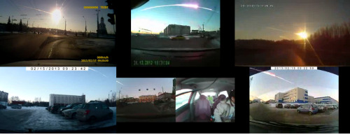 inothernews:  The New York Times took six dashboard camera videos of that Chelyabinsk meteorite — hey, did you know that dashboard cameras were a thing in Russia? — and synced them up.