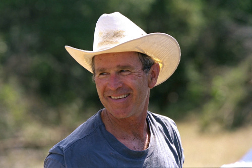 ourpresidents:  President George W. Bush at work clearing brush at Prairie Chapel Ranch in Crawford, Texas. 8/28/02*