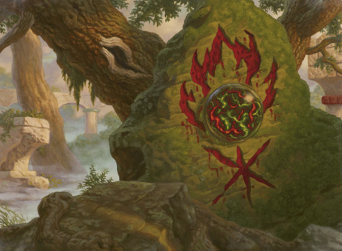 lorstarcutter:  Gruul Cluestone - Raoul Vitale Forgotten under rocks and vines, Gruul symbols mark the sites of primitive rituals where shamans once chanted to the wild.