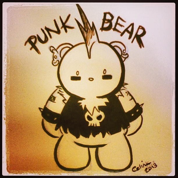 randomasis:  It's PUNK BEAR! #chibicelina #celinahernandez #punk #bear #punkbear #cute #fcbd2013