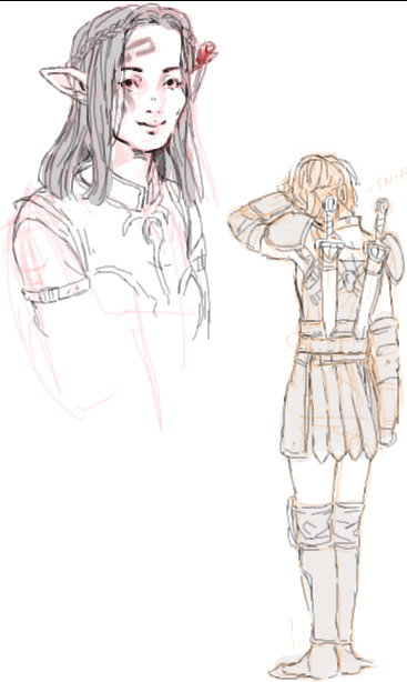 aaeds:  Tiny's elf warden with Alistair's little rose, and my Cousland crying like a babby.   Still crying over this