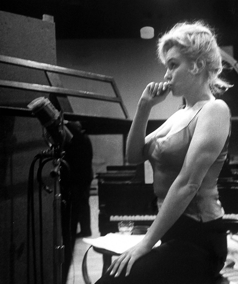 Marilyn Monroe recording songs for Let's Make Love.