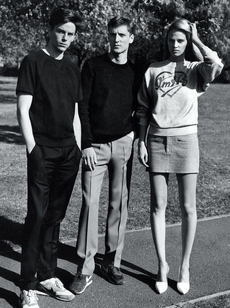 Lara Stone, Jeremy Young and George Barnett photographed by Alasdair McLellan for i-D Spring 2012.