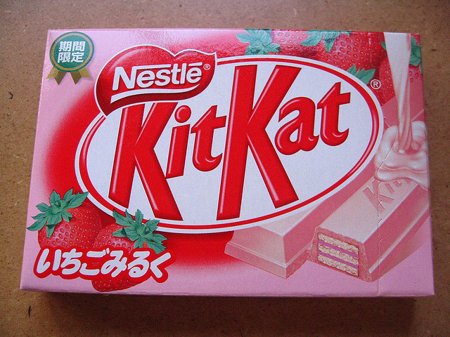 japanlove:  Strawberry Milk KitKat by Fried Toast on Flickr.