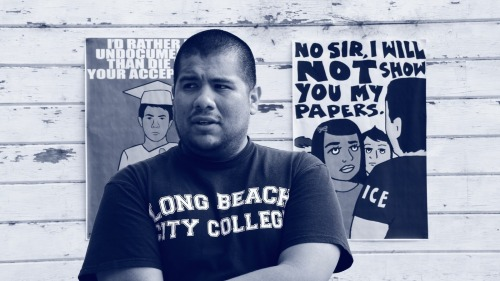"niaking:     Undocumented and Awkward: An Interview with Julio Salgado   It's the radicals versus the assimilationists. But wait, is the queers or the DREAMers we're talking about? In this case, it's both! Undocuqueer art activist illustrator Julio Salgado discusses his political progression from painting a picture perfect portrait of undocumented students to a framework that recognizes even if your record isn't squeaky clean, you don't deserve to be deported. Highlights include: a date with a gay Latino Republican, the awkwardness of coming out as undocumented, and the ""privilege"" of being undocumented in California Downloadable version available here."