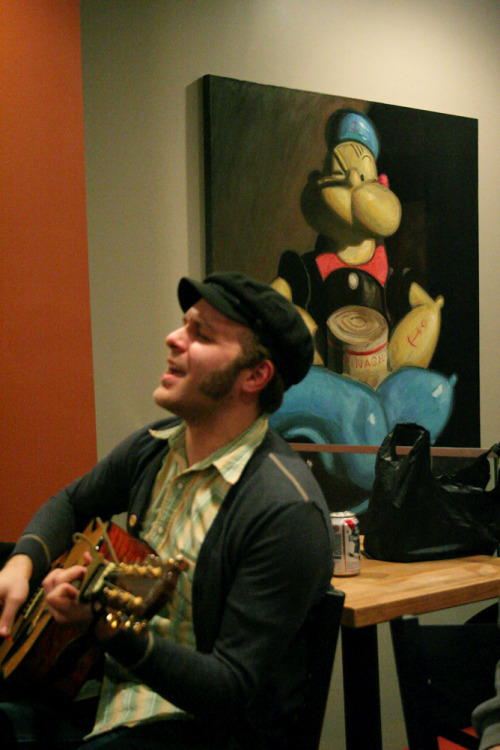 billymackcollector:  Rob, Lately and an awesome Popeye Painting. Buzz Cafe, Philadelphia. 2/18/2013