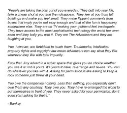 robotcosmonaut:  Banksy on Advertising
