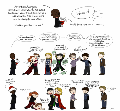 "homeiswheretheheartsare:  Domestic Avengers Part One - ""Don't we have enough personal problems?"" Ship all the characters. There are no rules, you may use any criteria you want and yes, Mjölnir counts as a character. All characters not depicted are otherwise occupied. Either saving the world or participating in the bi-weekly orgy at Xavier's. Your choice.Part 1.5 - ""The one where Steve goes on a date."" Part Two - ""Having kids can only decrease the odds of our enemies killing us. Because they'll shoot them first."" (Coming Soon)"