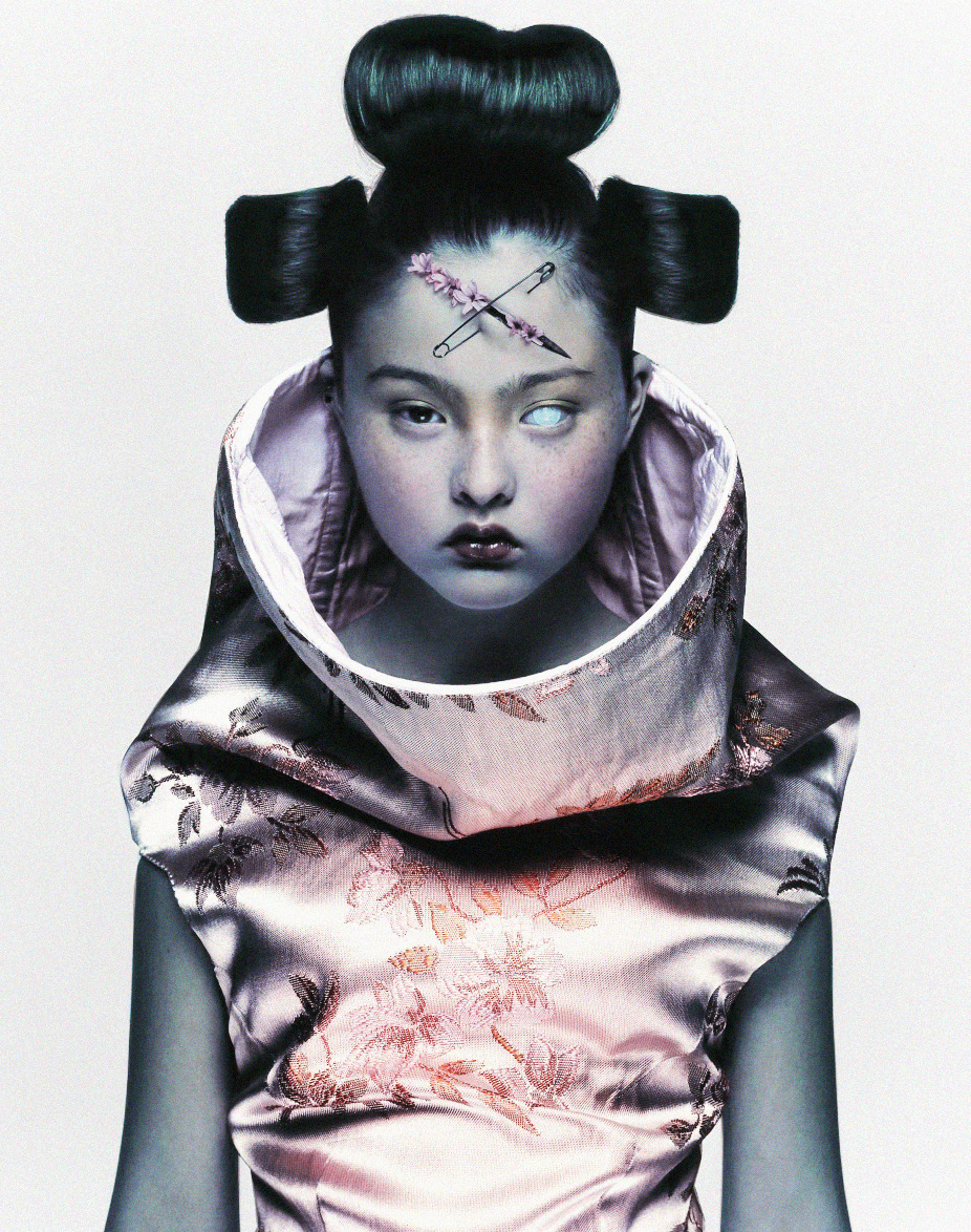 "deprincessed:  Devon Aoki wearing Alexander McQueen S/S 97 shot by Nick Knight for Visionaire: Comme des Garçons issue 1997 (#20) ""Nick Knight's iconic image of Japanese/American model Devon Aoki in Alexander McQueen is an exemplary photograph shot for the cover of the influential style magazine Visionaire in 1997. Here, the celebrated British fashion photographer who has continued to push the boundaries of photographic process and aesthetics, deftly enhances the signature contradiction between the past and the future that is particular to another British icon, Alexander McQueen. This striking photograph is at once directly confrontational and thought-provoking, and captures Aoki with a dark, futuristic aura that infuses her glamour. The image also serves as the cover photo for Knight's self-titled monograph released in 2009."""
