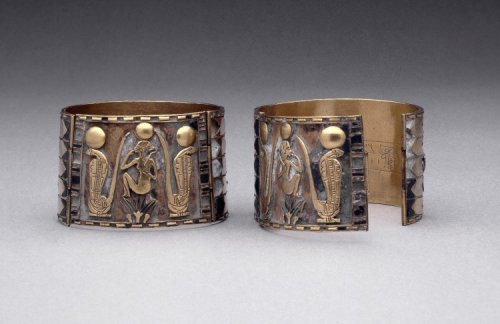 Gold cuff bracelet of Prince Nemareth Made from Gold and Lapis Lazuli c.940 BC 22nd Dynasty (Source: The British Museum)