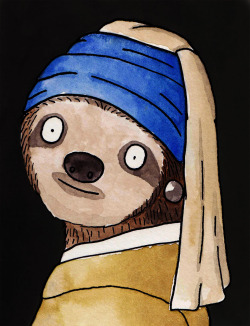 shittywatercolour:  The Sloth with a Pearl Earring