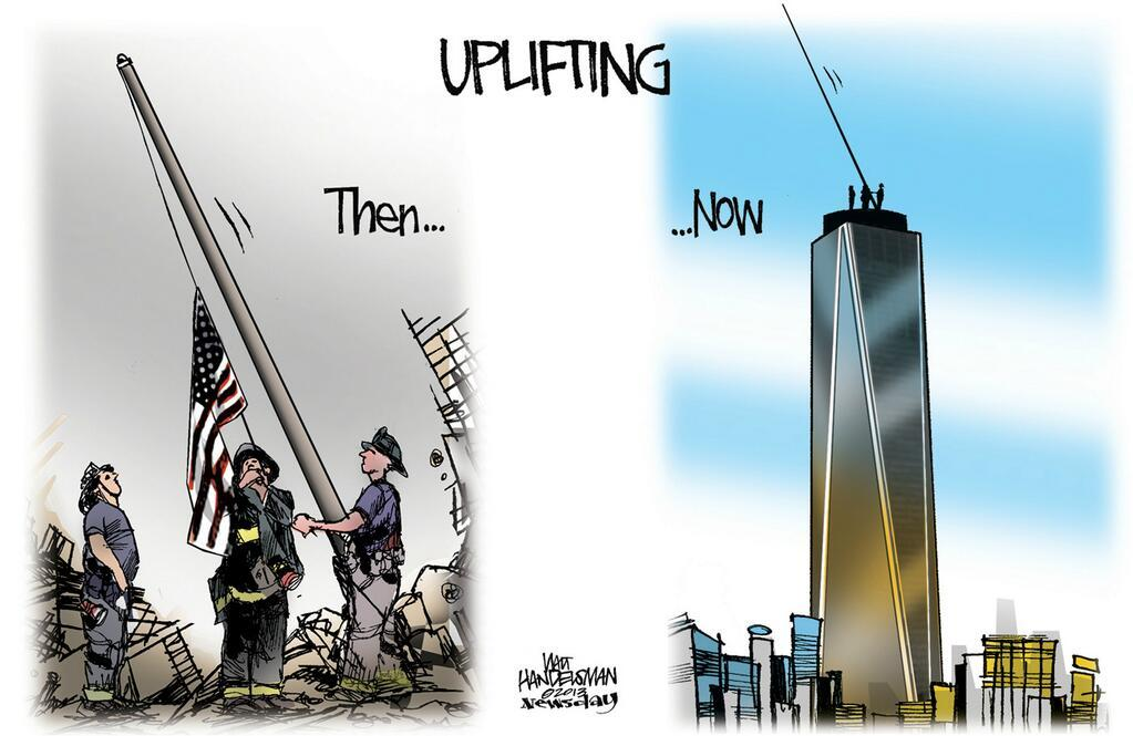 Really nice work from Newsday's Walt Handelsman as One World Trade Center is set to reach 1,776 feet this week.