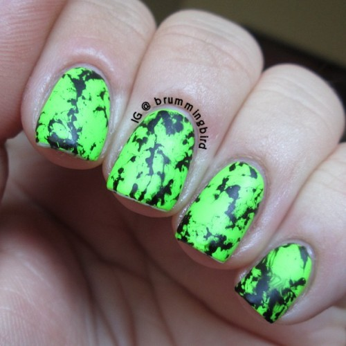 truthteller:  Hairspray marbling: neon green, black, matte topcoat