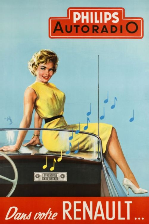 what-floats-my-boat:  Ad for Philips radio in the RenaultBy R. Geleng1955(via galerie123)