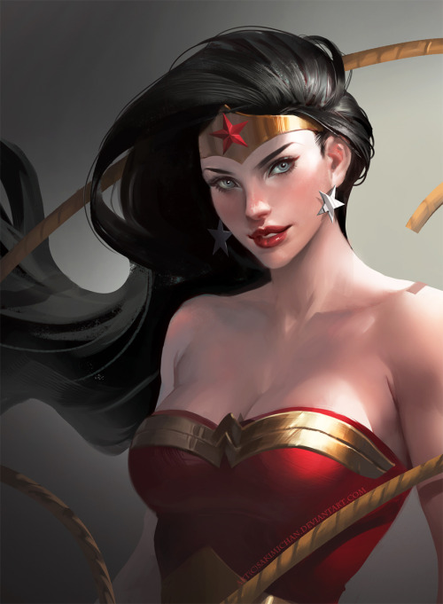 yellow-park-bench:  Wonder Woman by sakimichan