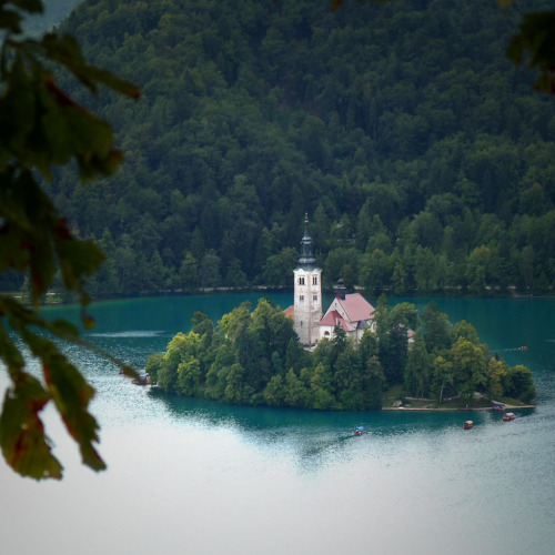 dearscience:  The church of St. Mary on the only natural island in Slovenia