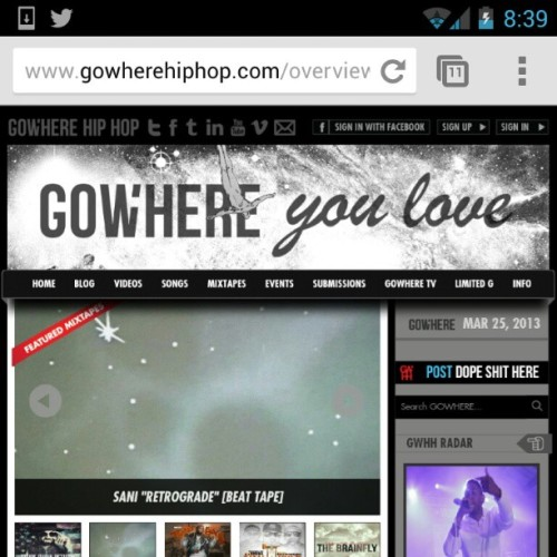 My second beat tape made it to the front of Gowhere. You should listen to it.   http://www.gowherehiphop.com/mixtapes/retrograde