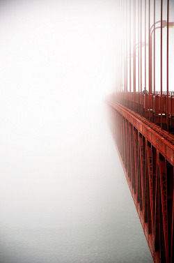 infinityc0re:  vurtual:  Golden Gate in Fog - San Francisco, CA (by pixelmepretty22)   ~