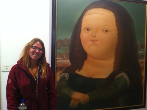 This is me at the Mona Lisa (ok I'll let you in on a secret, it's not the real Mona Lisa, but it's botero's version and after seeing both I must say this is more impressive)