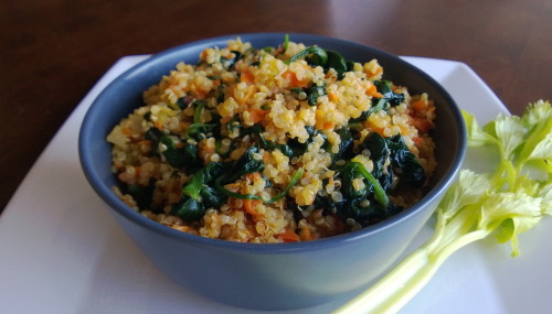 Quinoa Bowl with Celery Carrots and Spinach