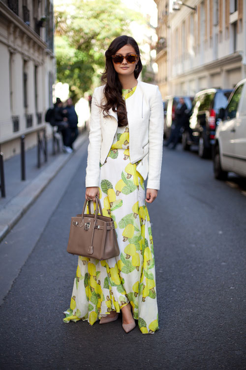 A citrus themed look at Paris Fashion Week Spring 2013. Source: Harper's Bazaar.